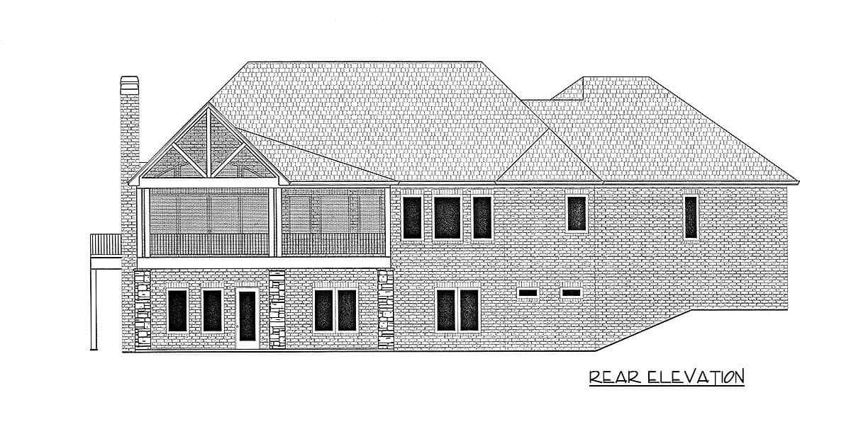 Rear elevation sketch of the 3-bedroom single-story New American home.