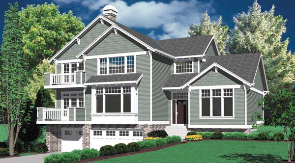 Front rendering of the 3-bedroom two-story craftsman style Groton home.