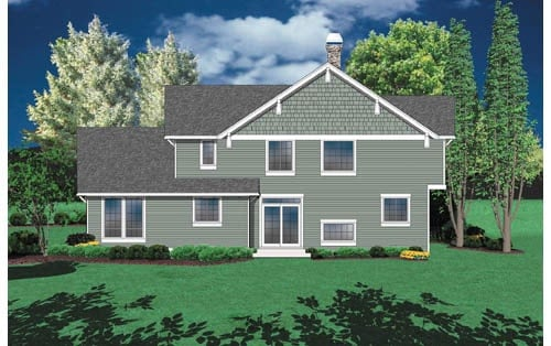 Rear rendering of the 3-bedroom two-story craftsman style Groton home.