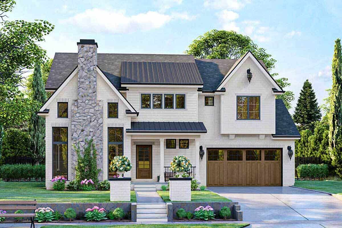 3-Bedroom Two-Story Modern Cottage with 2-Car Garage