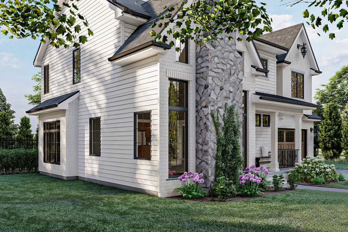 Left-front rendering of the 3-bedroom two-story modern cottage.