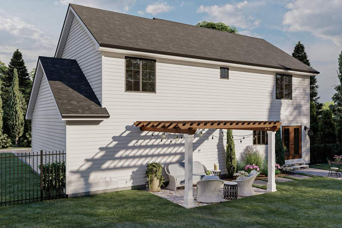 Left-rear rendering of the 3-bedroom two-story modern cottage.