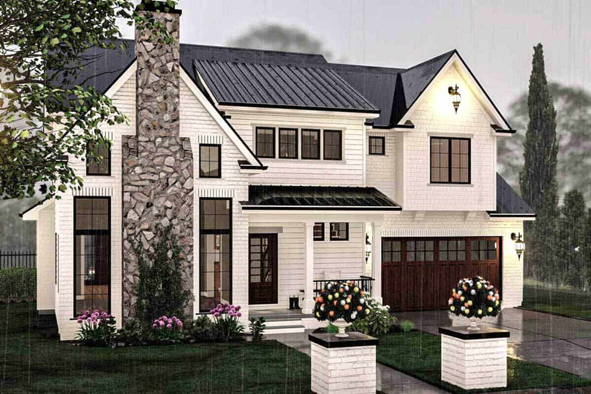 Front rendering of the 3-bedroom two-story modern cottage.