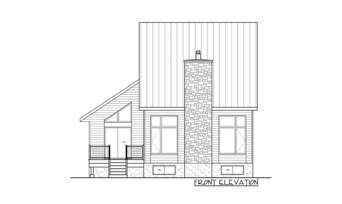 Front elevation sketch of the 3-bedroom two-story mountain cottage.