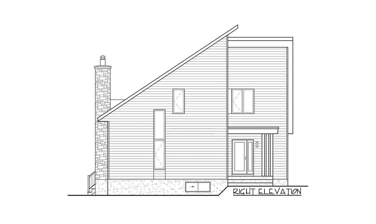 Right elevation sketch of the 3-bedroom two-story mountain cottage.