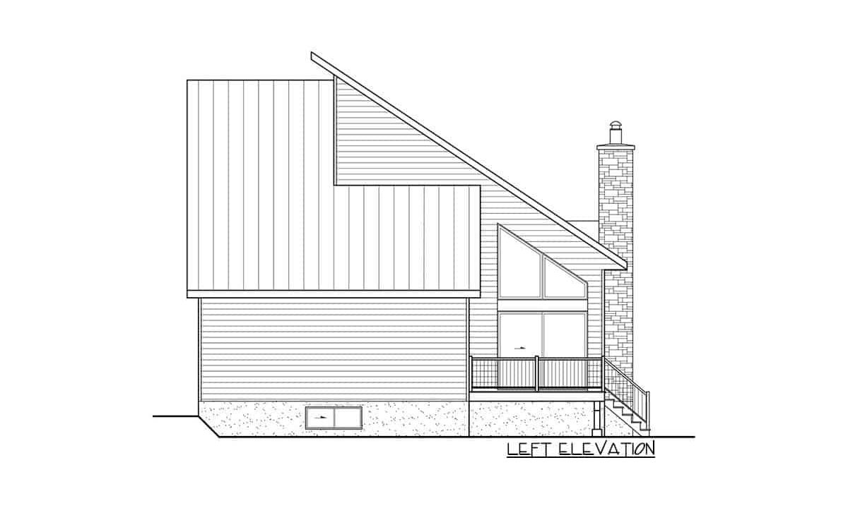 Left elevation sketch of the 3-bedroom two-story mountain cottage.