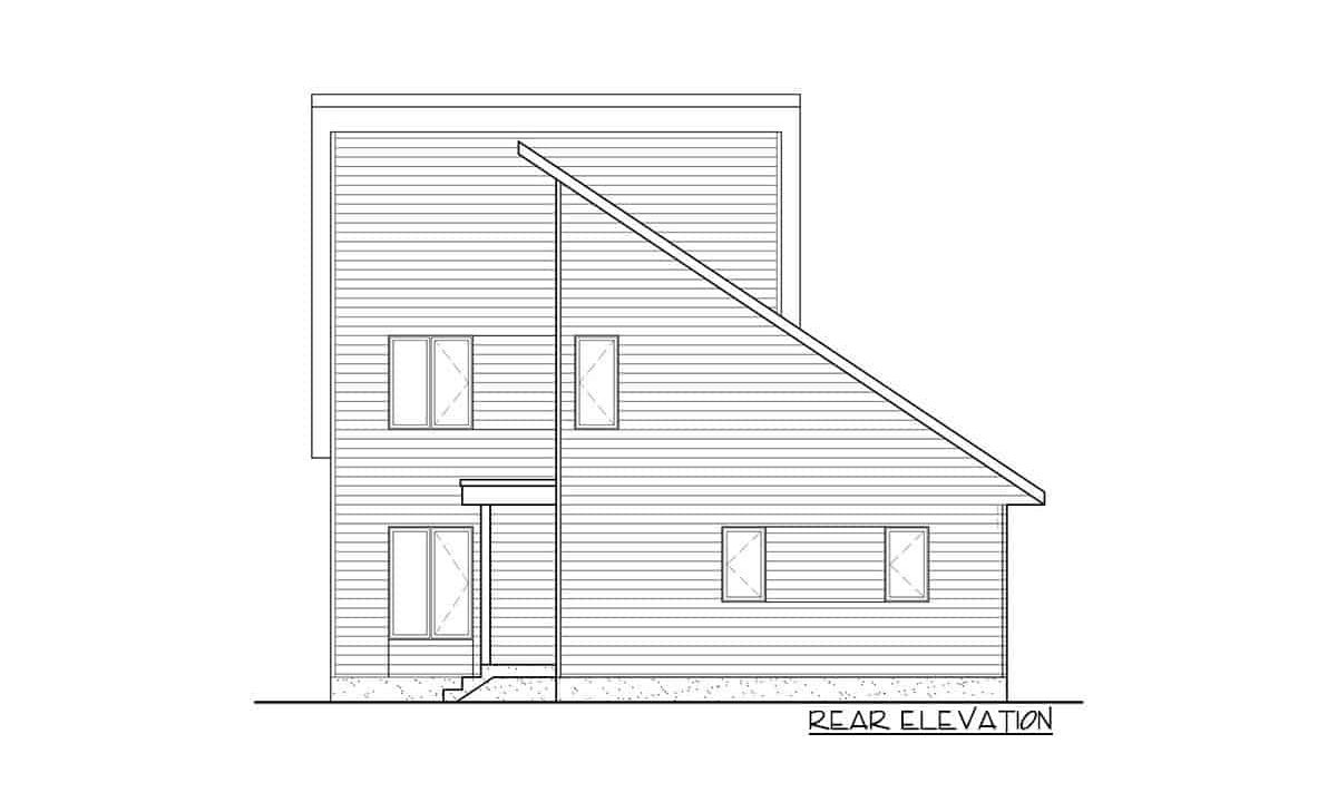 Rear elevation sketch of the 3-bedroom two-story mountain cottage.
