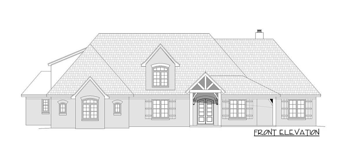 Front elevation sketch of the 3-bedroom two-story mountain home.