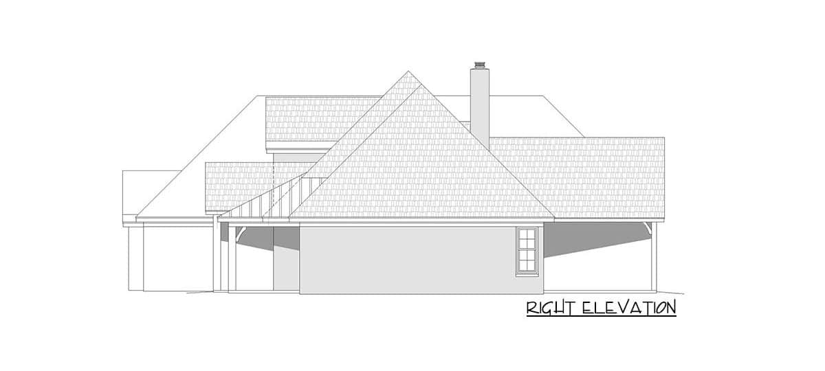 Right elevation sketch of the 3-bedroom two-story mountain home.