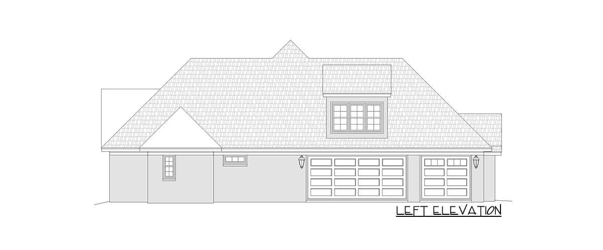 Left elevation sketch of the 3-bedroom two-story mountain home.