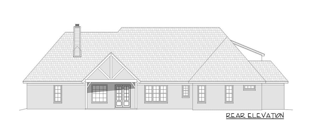 Rear elevation sketch of the 3-bedroom two-story mountain home.