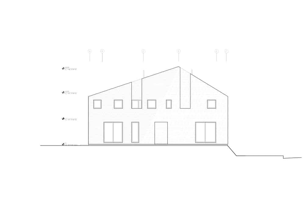 This is an illustrative representation of the south elevation of the house..
