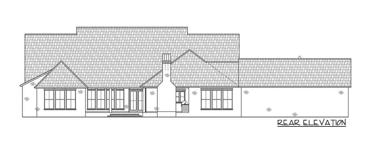Rear elevation sketch of the 4-bedroom single-story Acadian ranch.