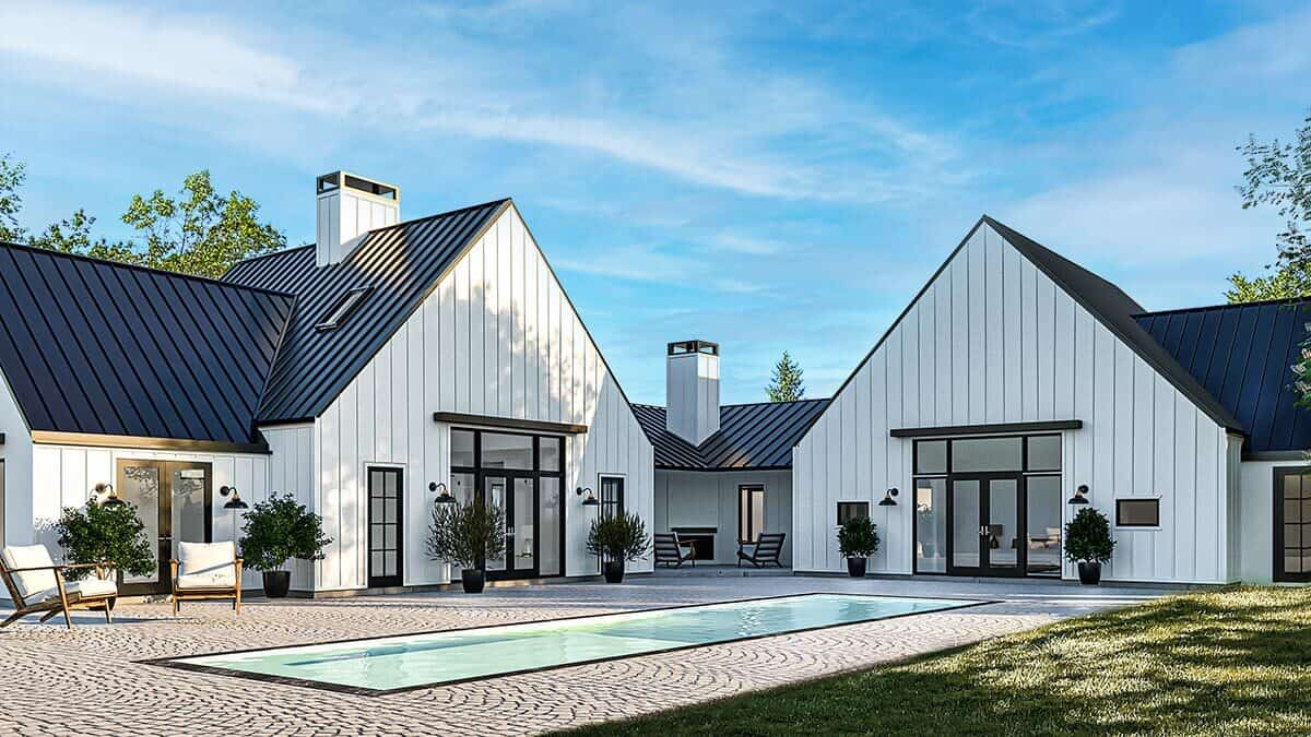 Rear rendering of the 4-bedroom single-story contemporary country home.
