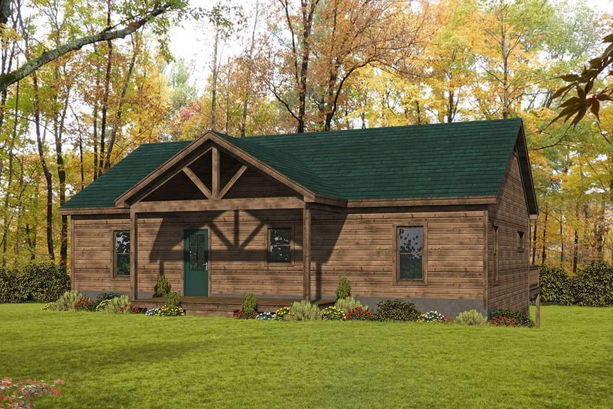 4-Bedroom Single-Story Rustic Cottage for a Rear Sloping Lot