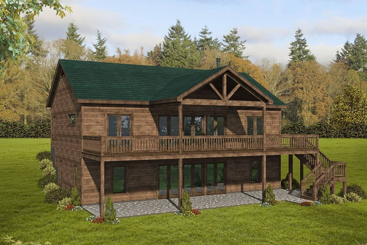 Rear rendering of the 4-bedroom single-story rustic cottage.