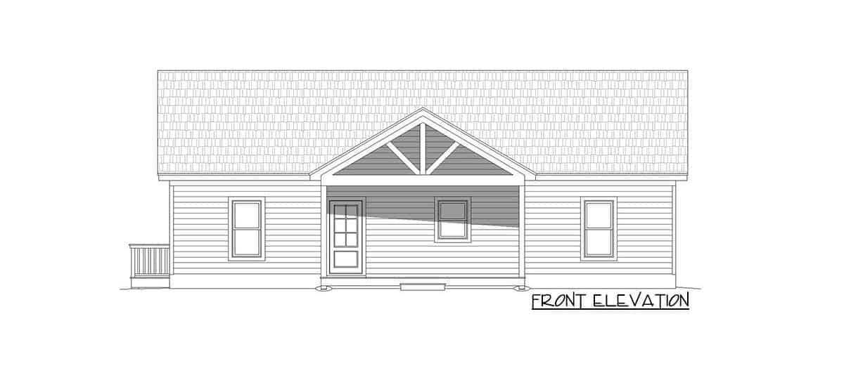 Front elevation sketch of the 4-bedroom single-story rustic cottage.