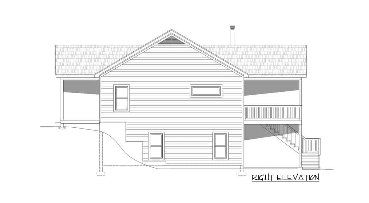 Right elevation sketch of the 4-bedroom single-story rustic cottage.