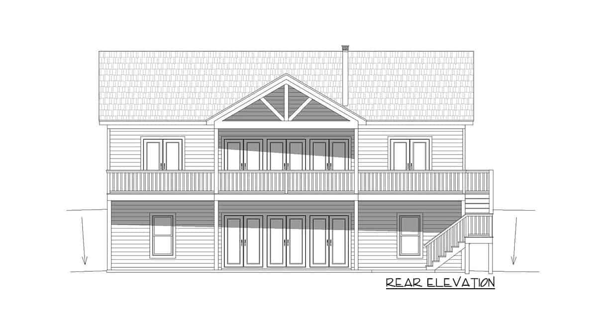 Rear elevation sketch of the 4-bedroom single-story rustic cottage.