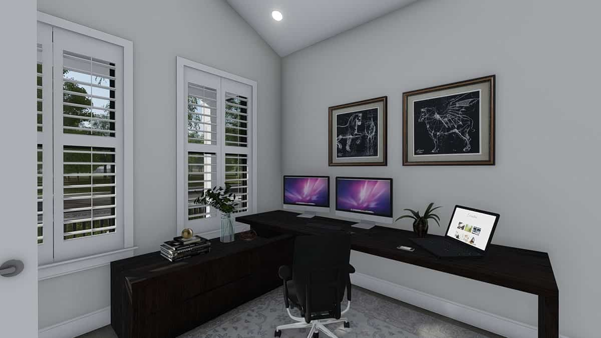 The home office has a swivel armchair and a dark wood desk integrated with a cabinet.