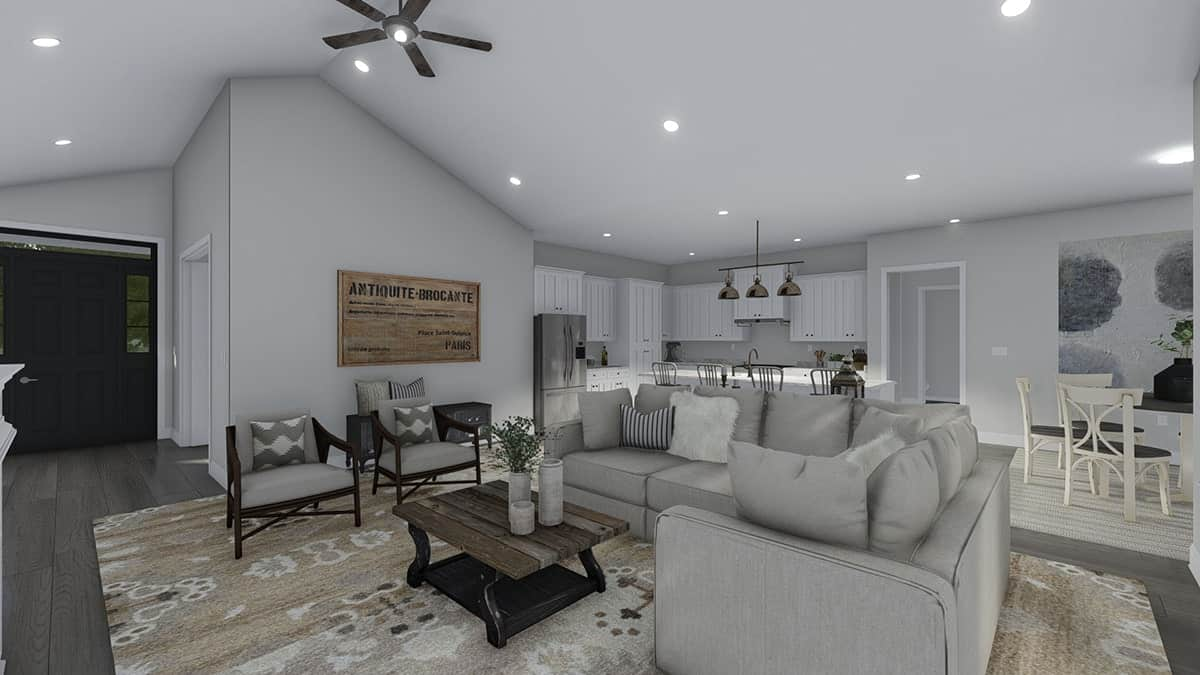 A large printed area rug creates distinction to the living room.
