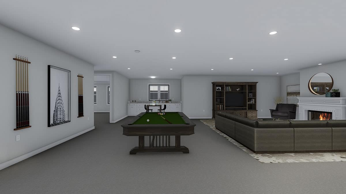 Recreation room with a billiards table, sitting area, wet bar, and a wooden bookcase.