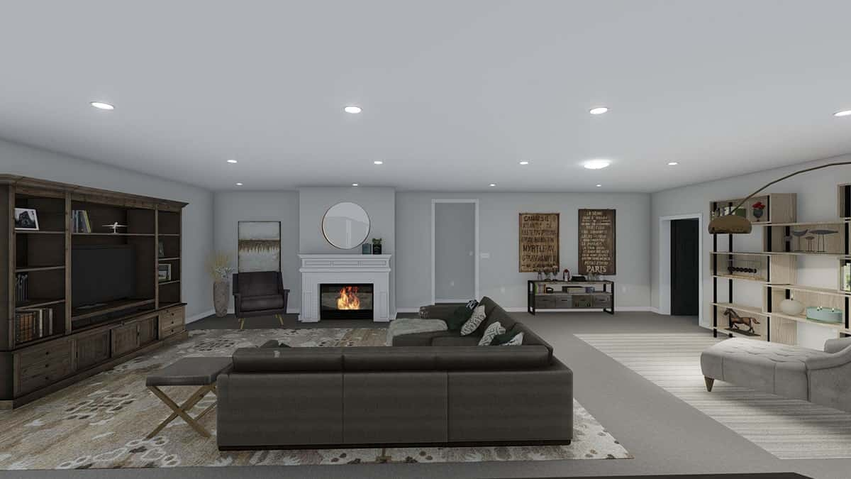 Family room with an L-shaped sofa, a fireplace, and a reading nook.