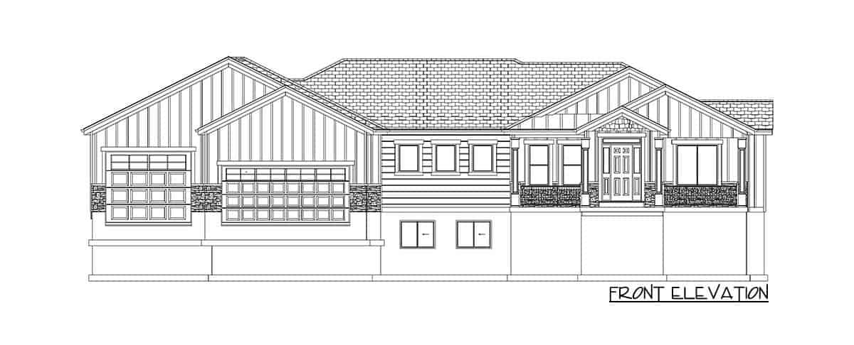 Front elevation sketch of the 4-bedroom single-story traditional home.