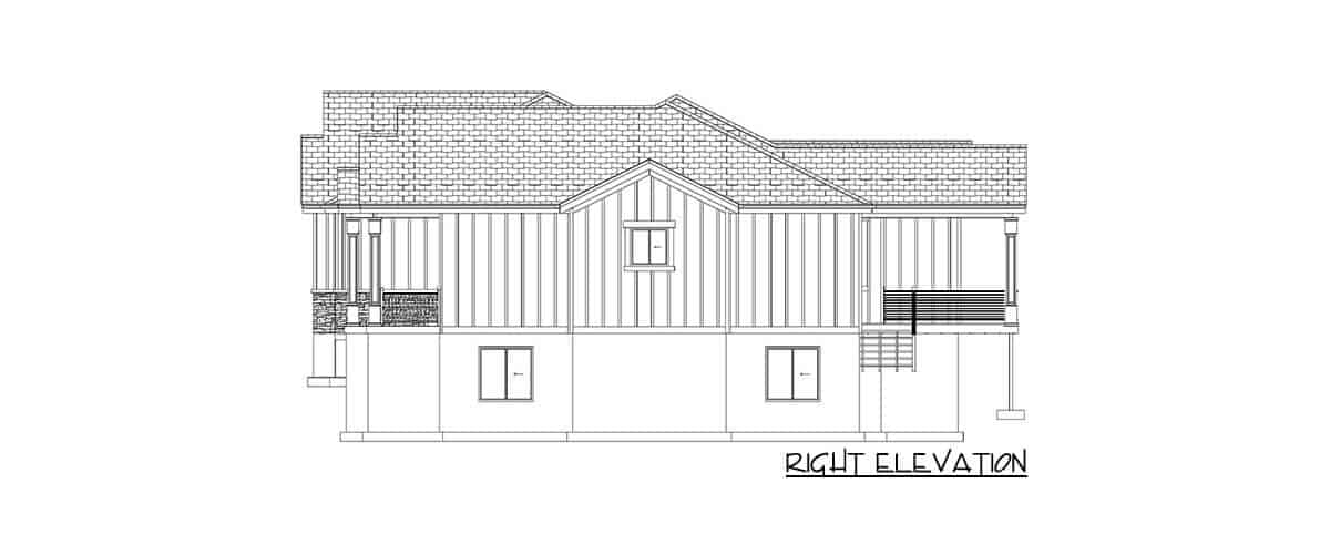 Right elevation sketch of the 4-bedroom single-story traditional home.Right elevation sketch of the 4-bedroom single-story traditional home.