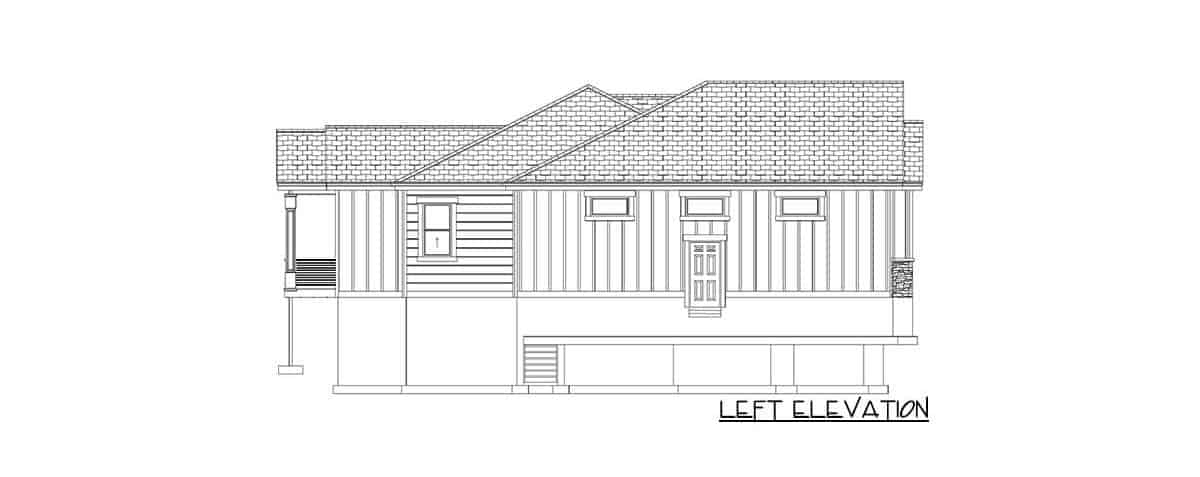 Left elevation sketch of the 4-bedroom single-story traditional home.