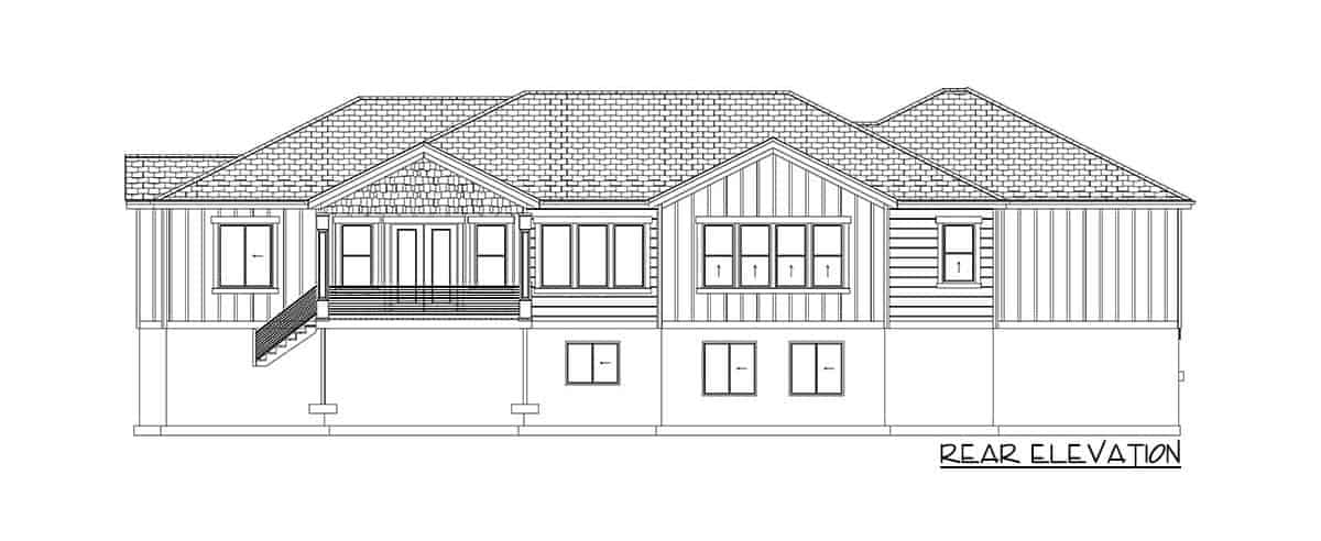 Rear elevation sketch of the 4-bedroom single-story traditional home.