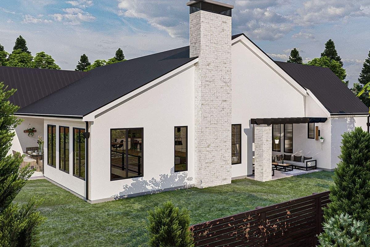 Rear rendering of the 4-bedroom single-story ultra-modern farmhouse.