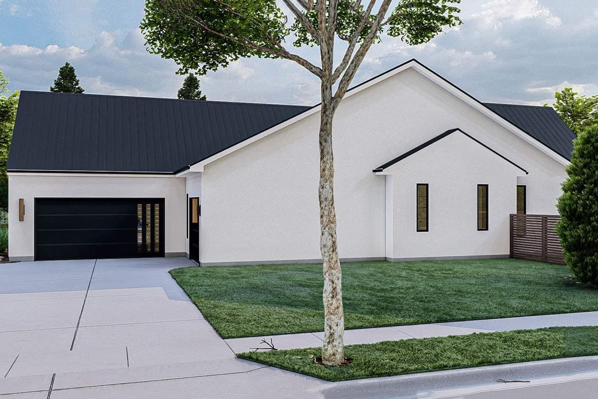 Right rendering of the 4-bedroom single-story ultra-modern farmhouse.