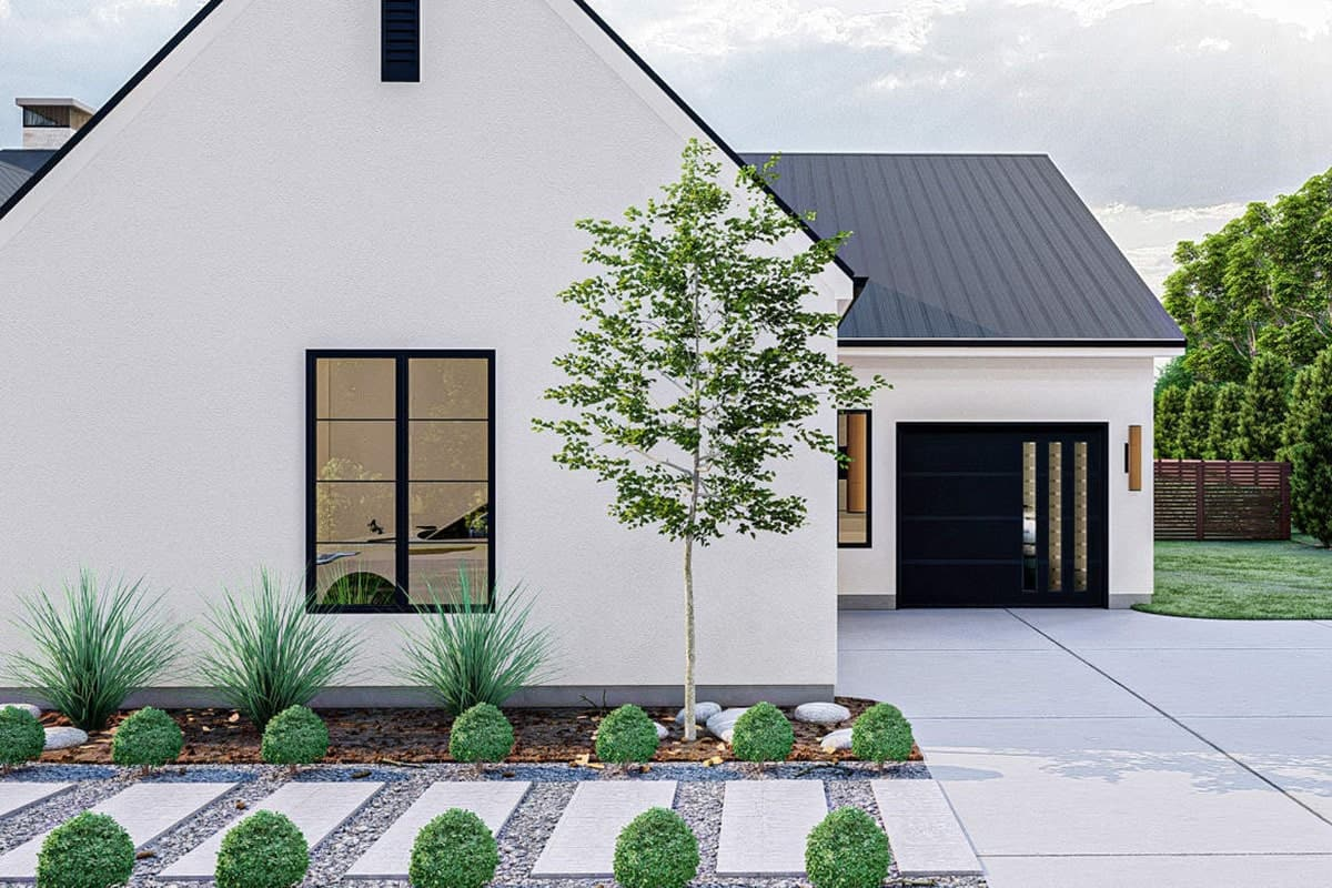 Left rendering of the 4-bedroom single-story ultra-modern farmhouse.