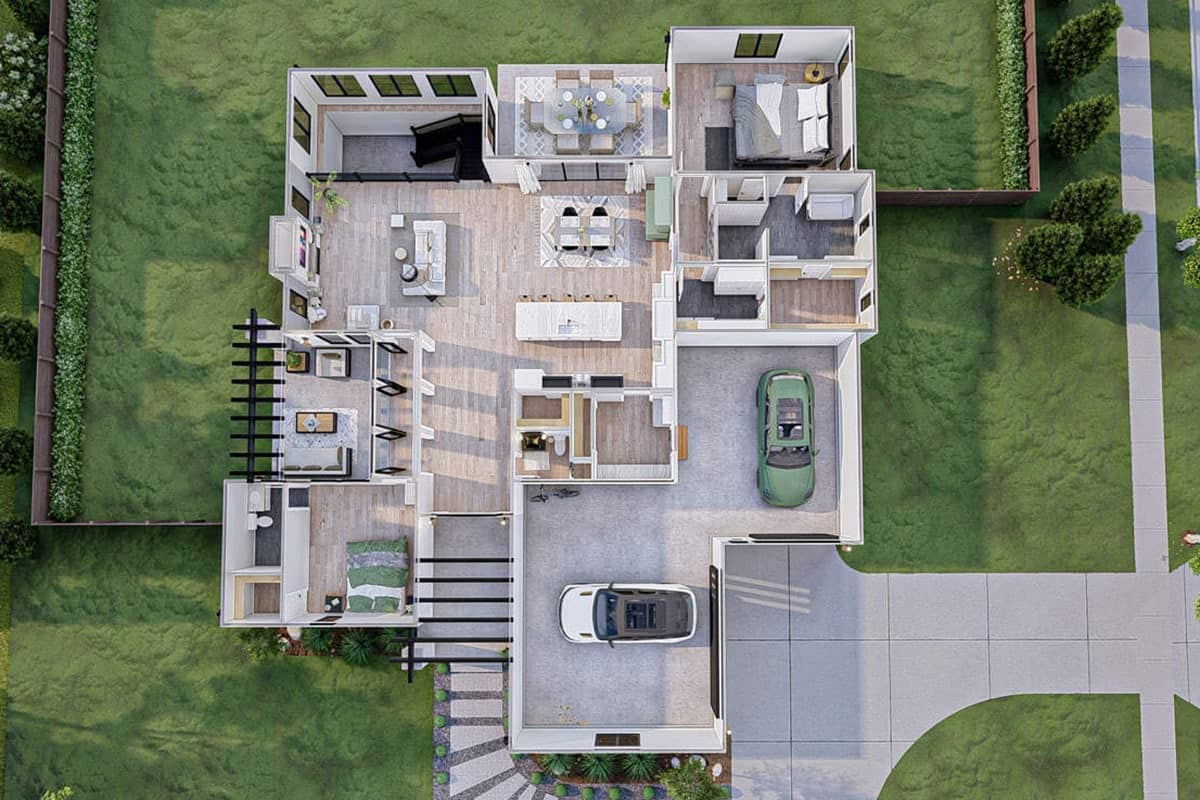 3D floor plan of the 4-bedroom single-story ultra-modern farmhouse.