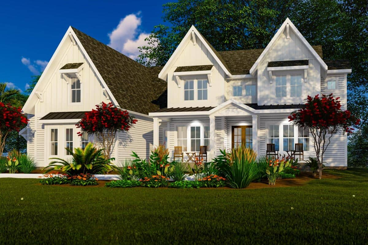 Front rendering of the 4-bedroom three-story modern farmhouse.