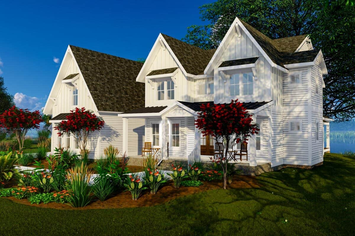 Front-right rendering of the 4-bedroom three-story modern farmhouse.