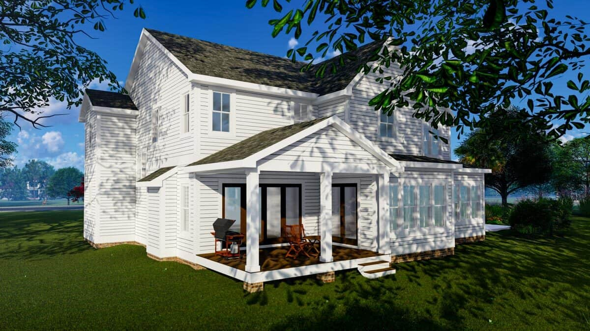 Rear rendering of the 4-bedroom three-story modern farmhouse.