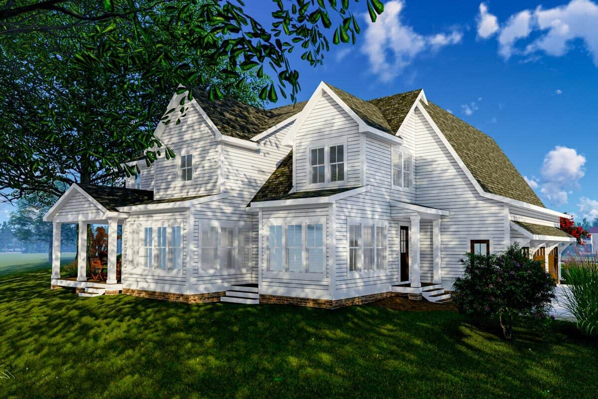 Rear-left rendering of the 4-bedroom three-story modern farmhouse.
