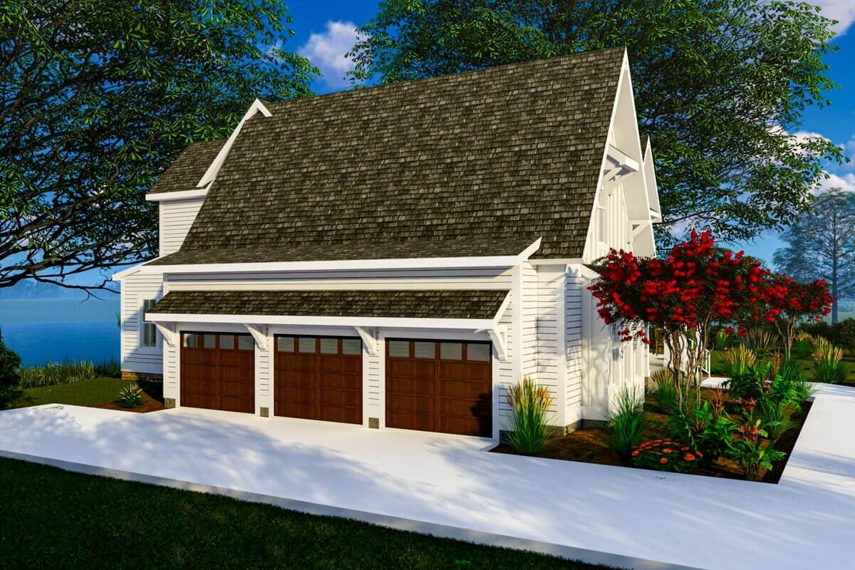 Left rendering of the 4-bedroom three-story modern farmhouse.