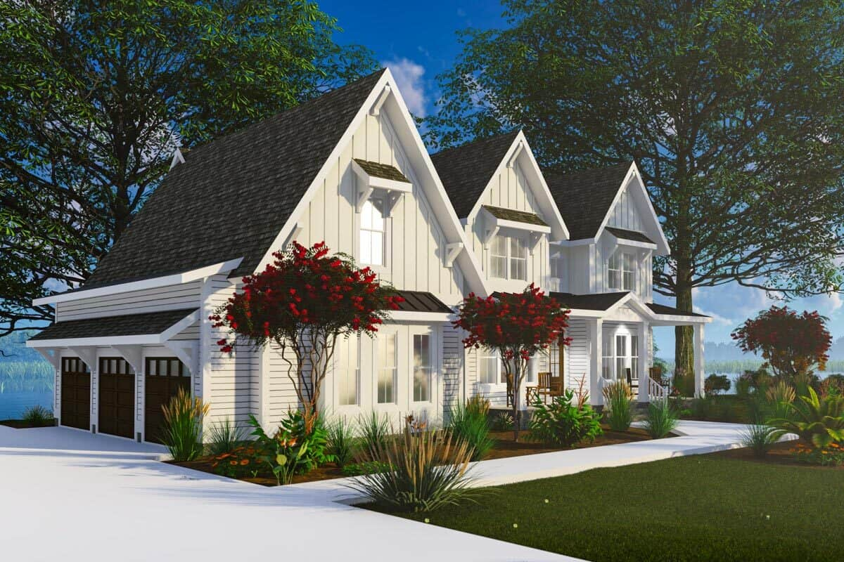 Left-front rendering of the 4-bedroom three-story modern farmhouse.