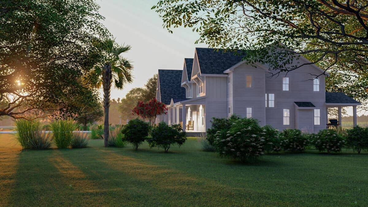 Right rendering of the 4-bedroom three-story modern farmhouse.
