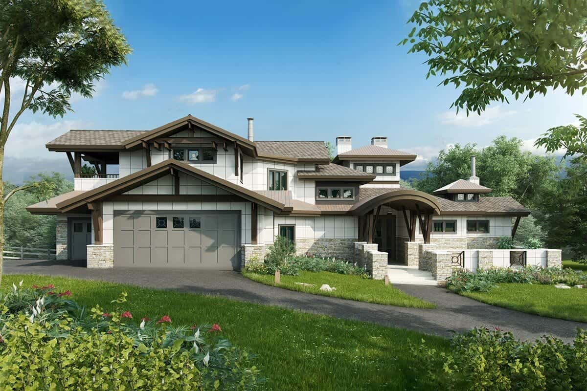 4-Bedroom Two-Story Luxury Mountain Home for a Rear Sloping Lot