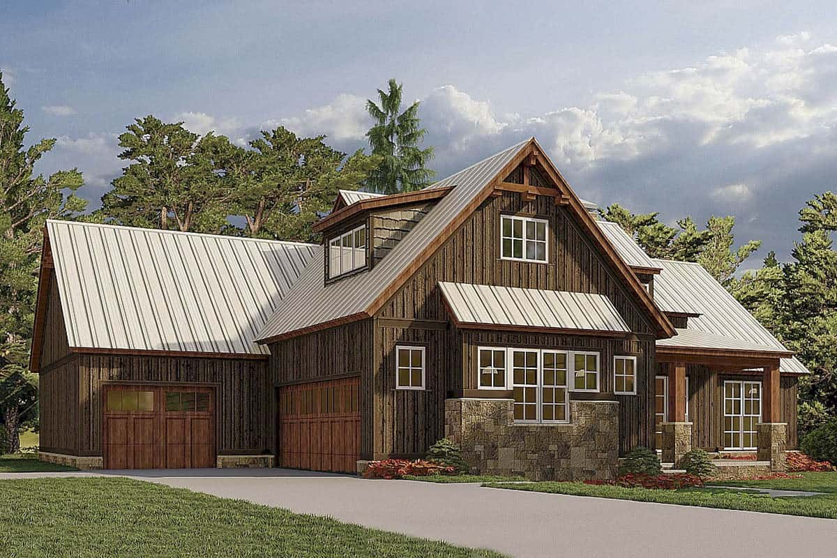 Front rendering of the 4-bedroom two-story mountain farmhouse.