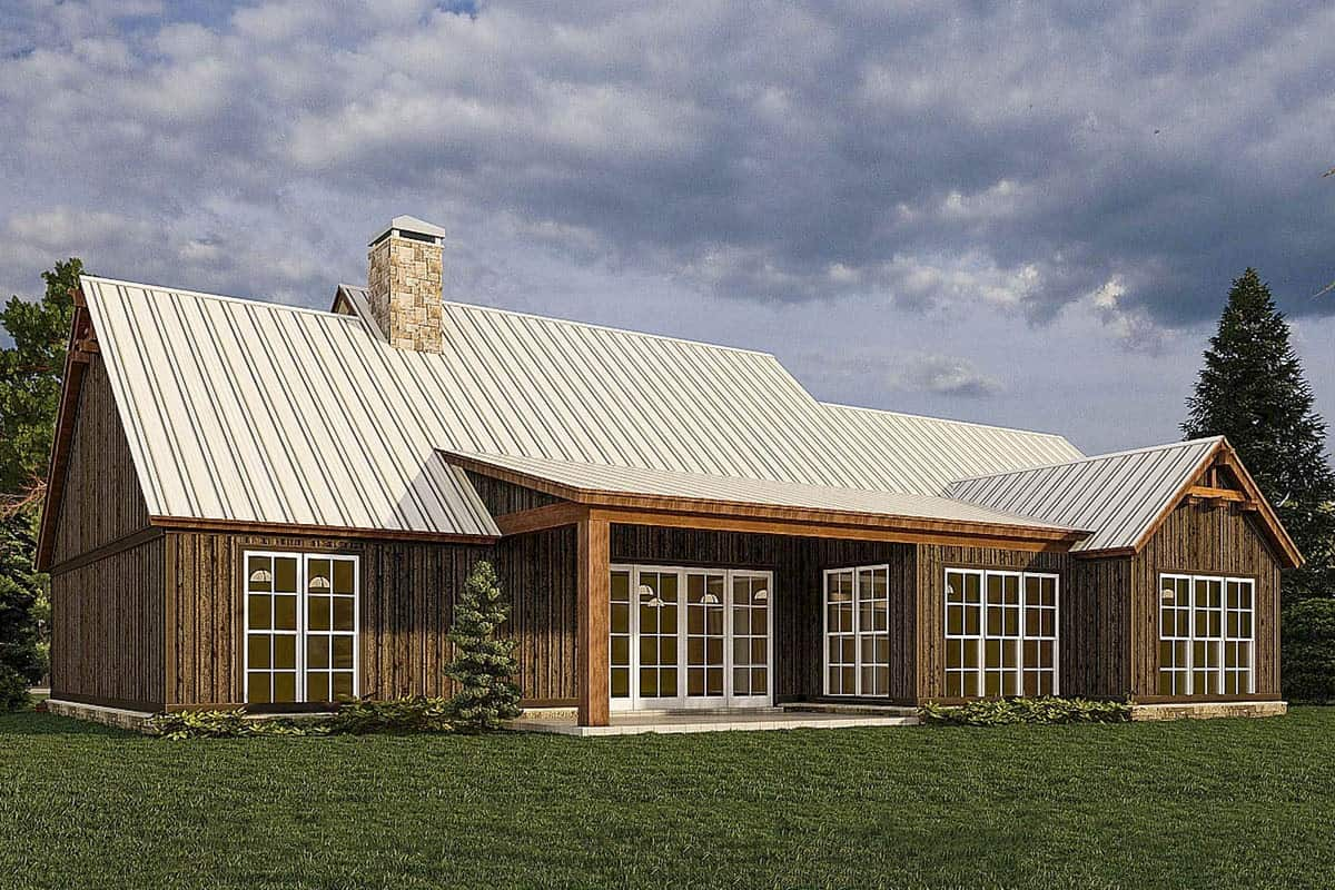 Rear rendering of the 4-bedroom two-story mountain farmhouse.
