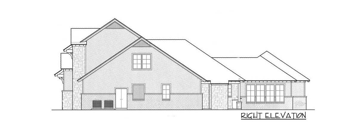 Right elevation sketch of the 4-bedroom two-story country traditional home.