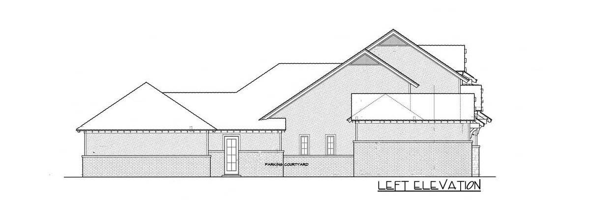 Left elevation sketch of the 4-bedroom two-story traditional country home.
