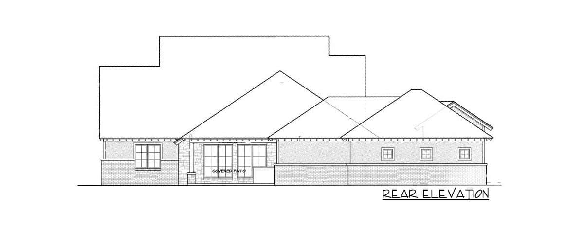 Rear elevation sketch of the 4-bedroom two-story traditional country home.