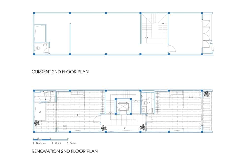 This is a comparison of the previous and current second floor plan.