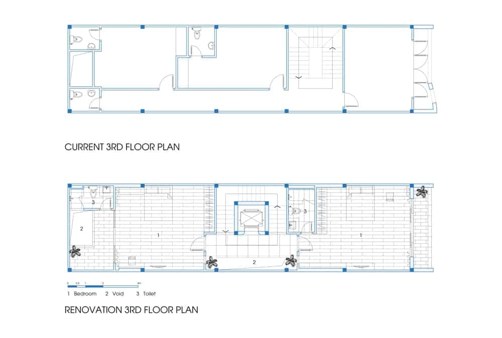 This is a comparison of the previous and current third floor plan.